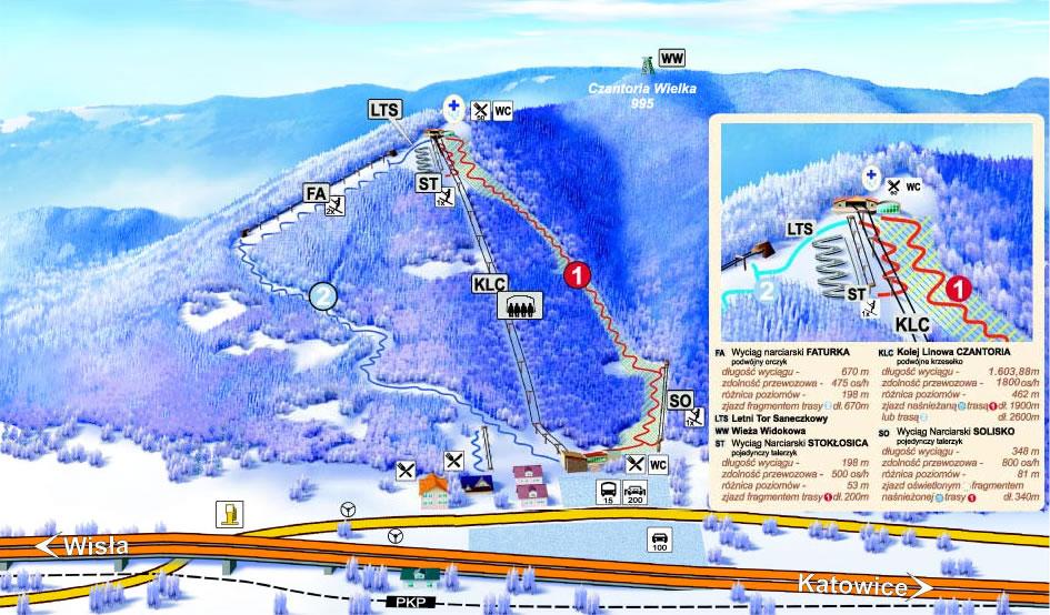 Czantoria Wielka. Mapa tras narciarskich.